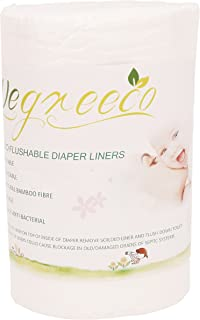 Wegreeco 100% Bamboo Unscented Biodegradable Diaper Liners,Fragance Free and Chlorine Free - 100 Sheets Per Roll (1 Roll, Bamboo)