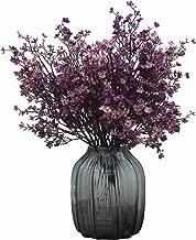 JAKY Global Babys Breath Fabric Cloth Artificial Flowers 6 Bundle European Fake Silk Plants Decor Wedding Party Decoration Bouquets Real Touch DIY Home Garden (Purple Pink-6pcs)