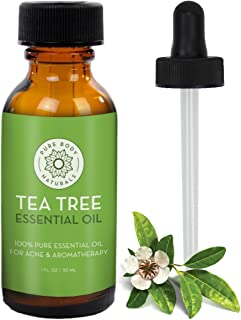 Tea Tree Essential Oil, Tea Tree Oil for Acne, Hair and Diffuser, 100% Pure Melaleuca Oil by Pure Body Naturals, 1 Ounce (Label Varies)