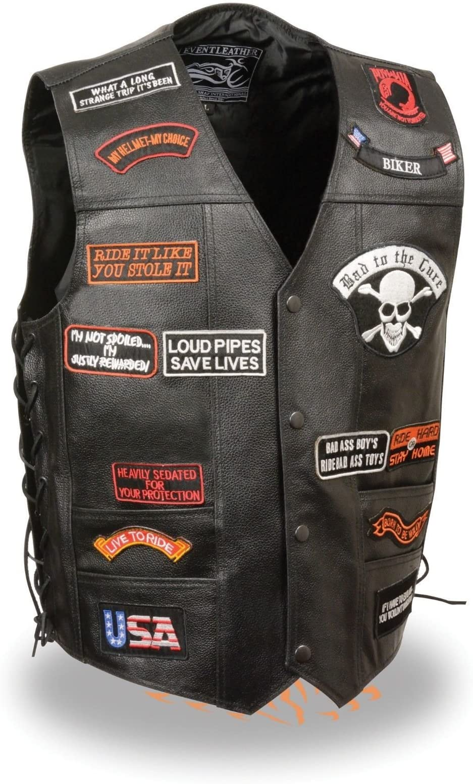 XXL Mens Motorcycle 10 Pocket Utility Leather Riding Vest Light weight Cow Hide leather Side Laces