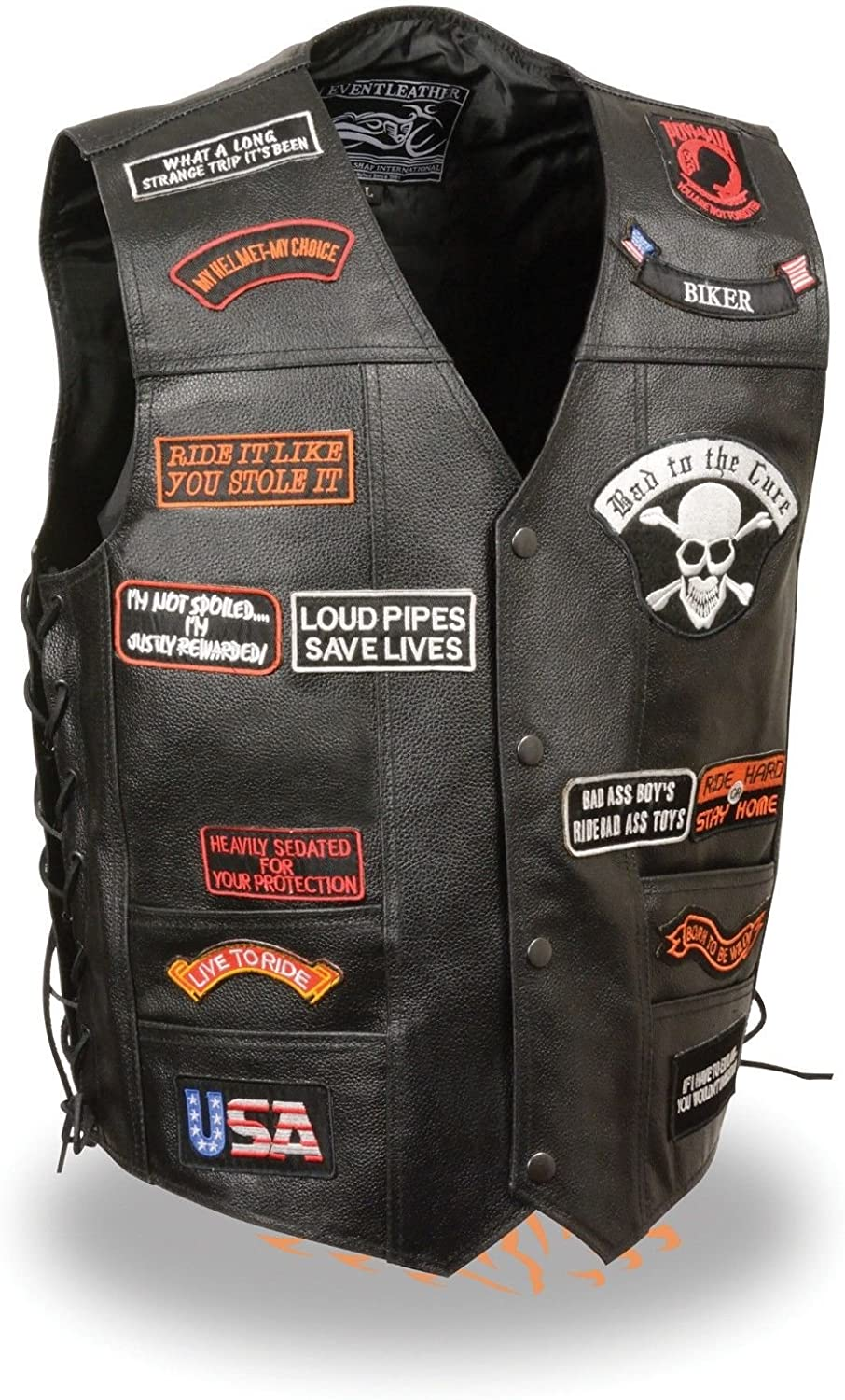 Men's Motorcycle Classic PRE- Patches Real Leather Vest Side Laces Black New (XL)