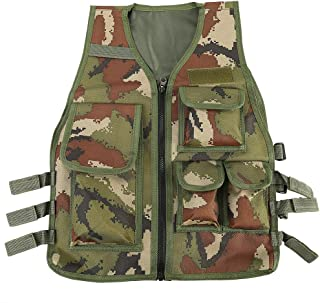Children Tactical Vest Nylon Shooting Hunting Molle Clothes CS Game Field Combat Training Protective Vest(Army Green Camouflage)