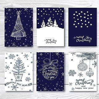 圣诞快乐贺卡 多包 24 张新年快乐节日贺卡 5 X 7 棕色牛皮纸信封