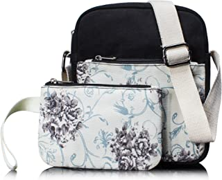 Small Canvas Messenger Bag Crossbody Bag Purse Set Floral Black