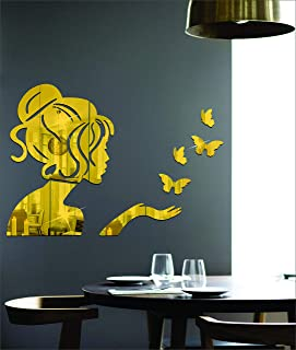 Wall1ders 1Store Angel & 4 Butterflies Golden 3D Acrylic Decorative Mirror Wall Stickers for Living Room, Bedroom, Hall & ...