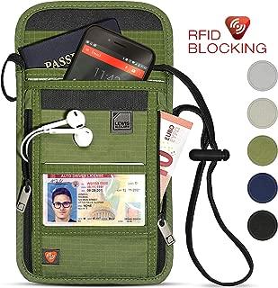 RFID Blocking Stash Neck Wallet, Travel Pouch + Passport Holder for Women & Men, Olive