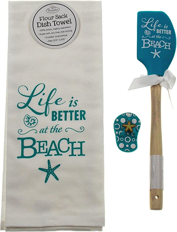 Hickoryville Life Is Better At The Beach Towel Spatula Flip Flop Magnet Bundle