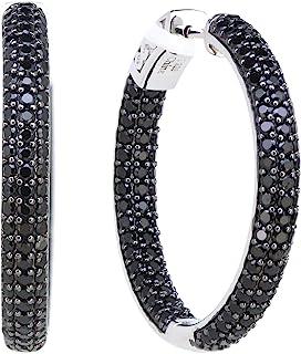 "1.25"" Sterling Silver Black Spinel Round Hoop Earrings (4.6 CT.T.W)"