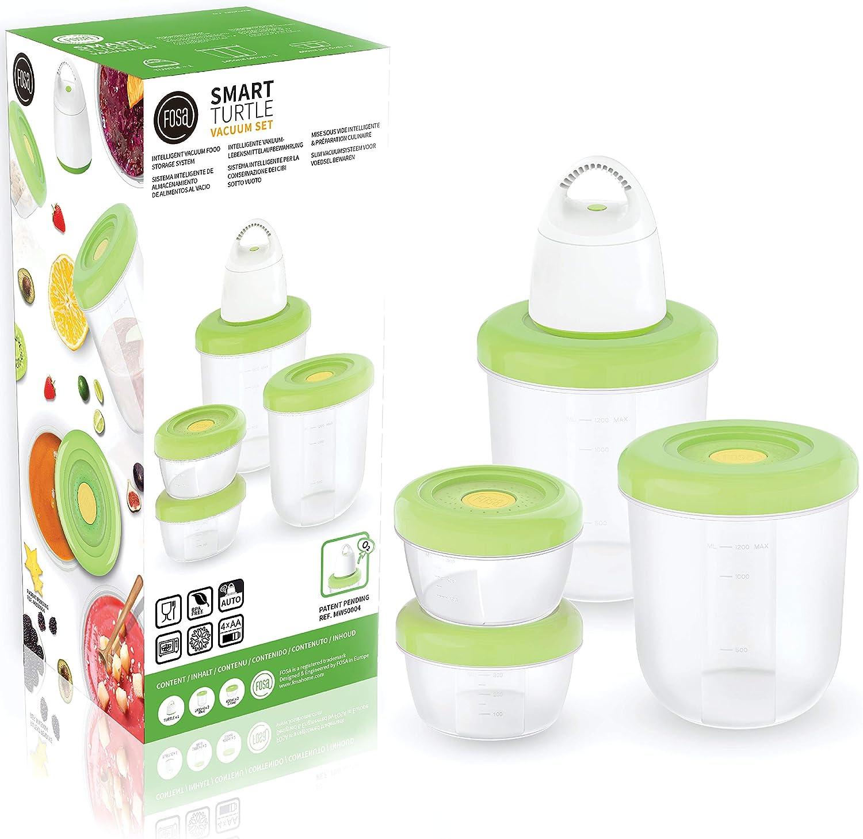 FOSA 4 x Recipientes para envasar al vacío + envasadora para vacío, Apto para Microondas y Lavavajillas, Recipientes redondos para Alimentos - Material libre de BPA