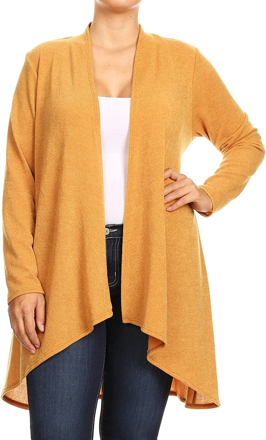Women's Plus Size Lightweight Casual Loose Fit Long Sleeve Open Front Solid Cardigan