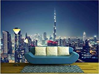 wall26 - Beautiful Dubai Cityscape, Bird's Eye View on a Night Urban Scene - Removable Wall Mural | Self-Adhesive Large Wallpaper - 100x144 inches
