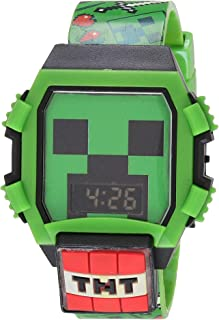 Minecraft Boys' Quartz Watch with Rubber Strap, Green, 24 (Model: MIN4052AZ)