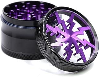 "4 Piece 2.5"" Aluminum Lightning Pattern Clear Top Herb Grinder (Purple)"
