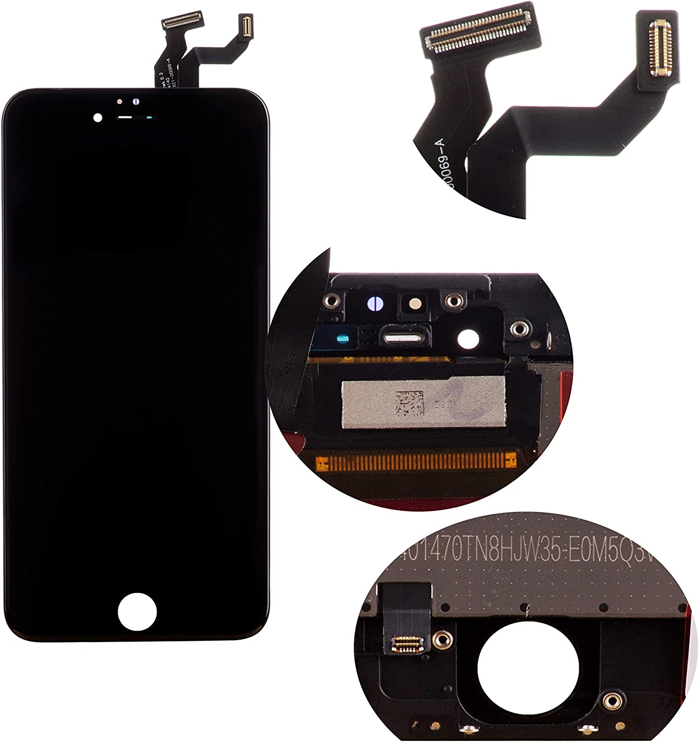 Front Glass LCD Screen Replacement Digitizer Assembly Frame Set Display Touchscreen for iPhone 6s Plus 5.5 Inch Black