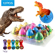 12 Pcs Dinosaur Eggs with Bonus10 Pcs Dinosaur Stamps, Kictero Crack Easter Dinosaur Eggs that Hatch in Water, Grow Eggs with Dinosaur figures Inside Toy for Boys / Girls, Birthday Party Favors