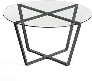 Mango Steam Metro Glass Coffee Table (Clear Glass & Black Base)