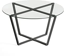 Mango Steam Metro Glass Coffee Table - Clear Top/Black Base