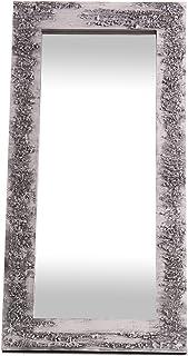 Lohoart L-1261-2 - Espejo Sobre Lienzo Pintado Artesanal Espejo Pared Color Blanco y Plata Medidas: 120X60X10 cm