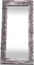 Lohoart L-1261-2 - Espejo Sobre Lienzo Pintado Artesanal, Espejo Pared Color Blanco y Plata, Medidas: 120X60X10 cm
