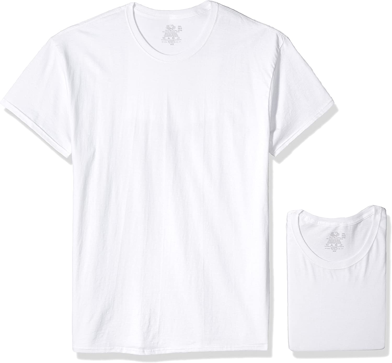 5 10 12 Pack Fruit of the Loom Mens Cotton T Shirt Lot Bulk Plain White Top New