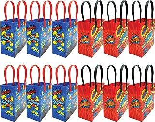 Superhero Text Party Favor Treat Bags, 12 Pack