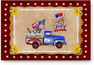 Indoor Entrance Doormat 23.6x15.7 inch USA Flags Day Truck Yellow Flowers Low-Profile Non-slip Backing Doormat Red Indepen...
