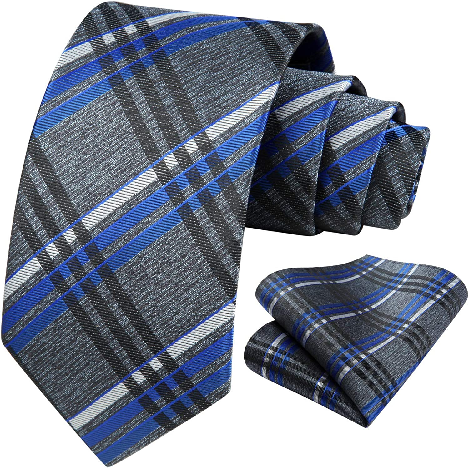 HISDERN Ties for Men Striped Silk Jacquard Mens Tie and Pocket Square Set Formal Business Neckties Wedding Party