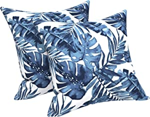 """LVTXIII Outdoor Accent Patio Toss Pillow Covers, Tropical Throw Pillow Case Sham, Square Cushion Covers for Indoor Outdoor Use 2 Pack, 18"""" x18"""" – Palm Blue"""