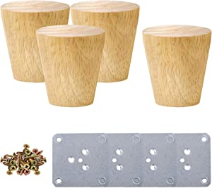 uxcell Wood Furniture Legs, 2 Inch Sofa Legs Round Solid Wood Couch Legs with Mounting Plate, Replacement Feets for Armchair Recliner Coffee Table Dresser Set of 4