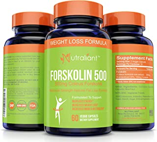 Forskolin For Weight Loss - Suppress Appetite + Boost Metabolism - Max Strength Belly Fat Burner Diet Pills Work For Men & Women to Lose - 500 mg Coleus Forskohlii Extract Supplement - 60 Veg Capsules