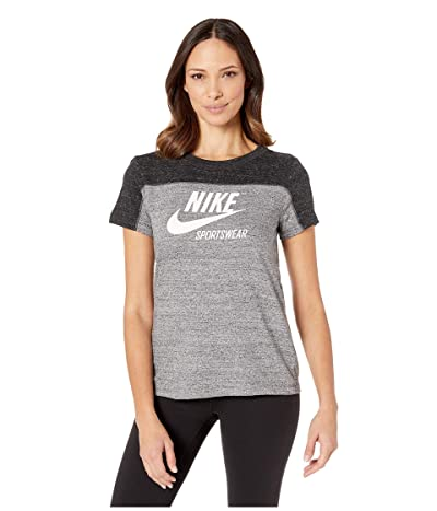 Nike Sportswear Gym Vintage Top Short Sleeve Graphics (Black/Carbon Heather/Cool Grey/Sail) Women