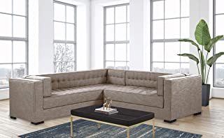 Iconic Home Lorenzo Right Facing Sectional Sofa L Shape Linen-Textured Upholstered Tufted Shelter Arm Design Espresso Finished Wood Legs Modern Transitional, Sand