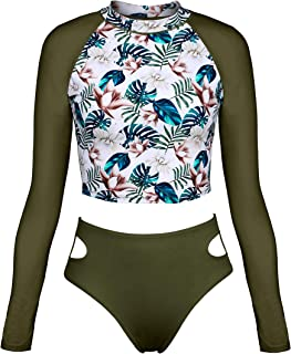 ATTRACO Women Two Piece Swimsuits Long Sleeve Bathing Suits Tankini Shirts UPF 50+