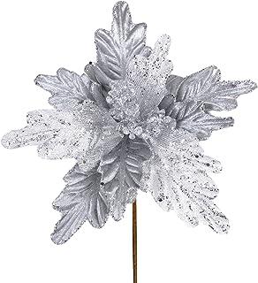 6 Pcs Christmas White Glitter Metallic Sheer Mesh Sequins and Silver Damask Weave Poinsettia Flowers Picks Tree Ornaments ...