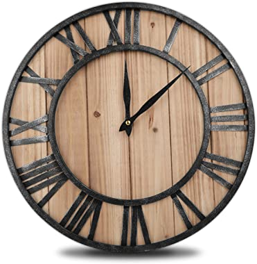 ComfortBuddy Wall-Clock 16inch Wooden Roman Numeral Large-Decorative Modern Clock for Home-Office Kitchen Living Room and Bed