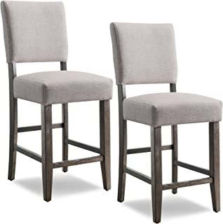 Leick Upholstered Back Counter Height Barstool (Set of 2), Grey