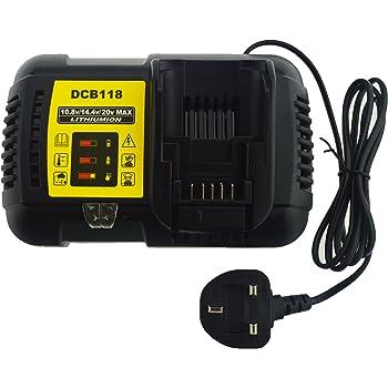 JANRI Relacement Power Tool Battery Fast Rapid Charger 4.5A 10.8V 14.4V 18V 20V Max Output DCB118 for Dewalt 18V 20V Max Li-ion Batteries DCB609 DCB609-2 etc