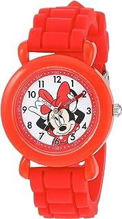 ساعة ديزني للبنات - ميني ماوس انالوج كوارتز مع حزام من السيليكون، أحمر، 16 موديل WDS000138