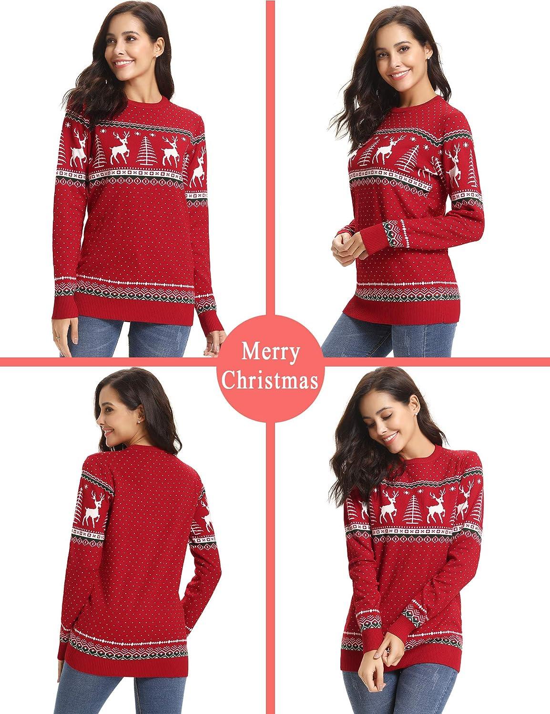 Abollria Damen Lang Strickpulli mit Rentiermuster Weihnachtspullover Rundhals Winterpulli Christmas Sweater für Frauen Mädchen Rot