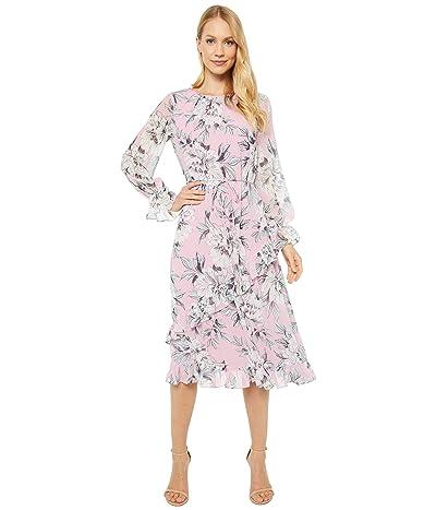 Adrianna Papell Floral Chiffon Ruffle Midi Dress (Pink Multi) Women