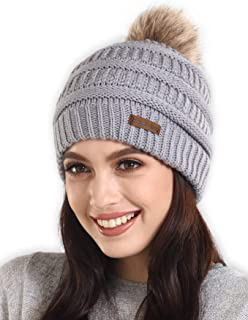 Faux Fur Pom Pom Beanie for Women - Warm & Cute Cable Knit Winter Hats - Thick, Chunky & Soft Stretch Knitted Caps for Cold Weather - Stylish & Trendy Snow Beanies for Ladies