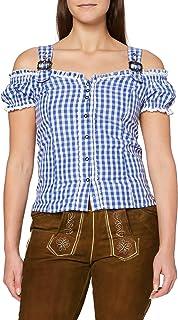 Fuchs Trachtenmoden Damen Trachten Bluse mit Carmenarm und Metall Schließe