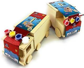 Mɑtty's Toy Stop Design & Paint Your Own Wooden Train & Truck Banks (Each Includes 4 Paints & 1 Brush) Gift Set Bundle - 2...
