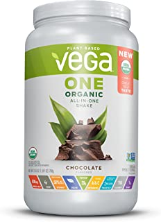 Vega One Organic All-in-One Shake Chocolate, Plant Based Vegan Protein Powder, Non Dairy, Gluten Free, Non GMO, 25 Ounce (Pack of 1)