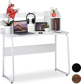 Relaxdays 10026041_954 Bureau, compartiments et dossier, Table de travail pour jeunes, étudiants,HlP 110x110x57 cm, blanc,...