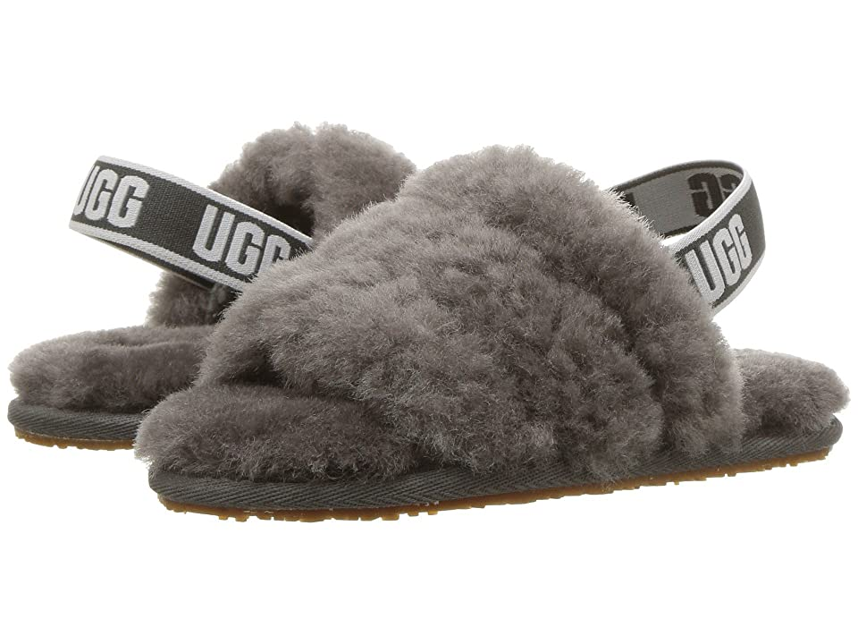 UGG Kids Fluff Yeah Slide (Toddler/Little Kid) (Charcoal) Girls Shoes
