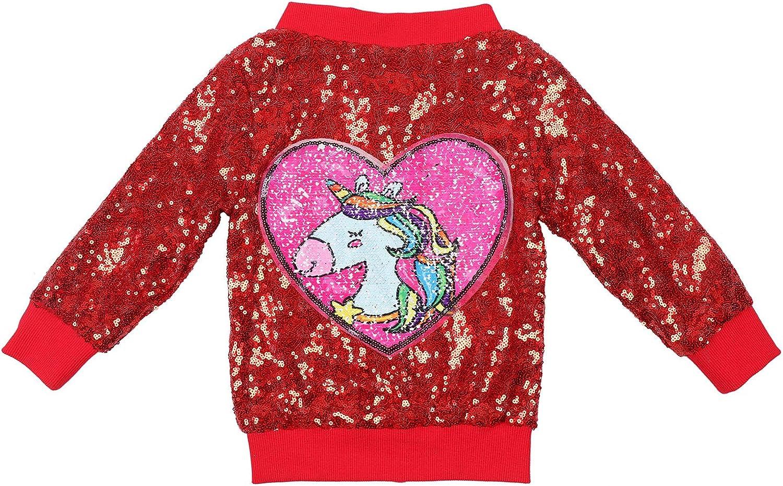 ANATA New popularity Girl Sequin Jacket Max 51% OFF Kids Unicorn Bomber Casual Zippe