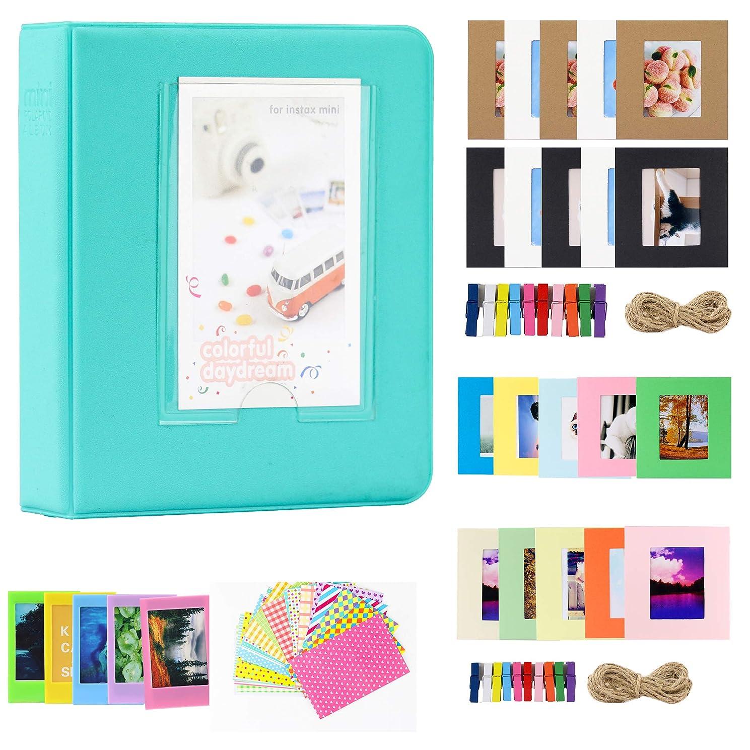 Brppo 2x3 Inch Photo Paper Film Album Set for Fujifilm Instax Mini Camera/HP Sprocket Photo Printer/Polaroid Snap, Z2300 & SocialMatic Instant Cameras (64 Pockets, Mint)