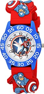 MARVEL Boys' Captain America Analog-Quartz Watch with Plastic Strap, red, 17 (Model: WMA000039