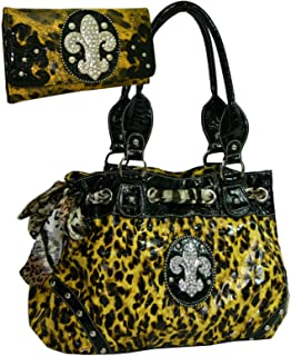 Western Rhinestone Fleur De Lis Studded Purse Bling Handbag With Bonus Wallet